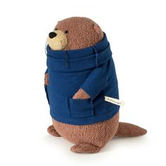 Organic Stuffed Otter with Blue Sweater - Fat Otter Stuffed Animal Eco Friendly and Ethically Made by fluffmonger on Etsy