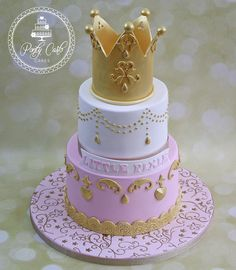 Pink And Gold Princess Crown Cake. - http://pontycarlocakes.com/pink-and-gold-princess-crown-cake/ #2Tier, #Birthdaycake, #Bling, #Cake, #Crown, #Gold, #Pontycarlocakes