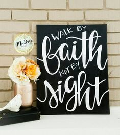Walk By Faith Not By Sight Inspirational Quote Hand Painted Bible Verse Art Scripture Art Wall Art Hand Lettered Wall Hanging 1114 Bible Verse Painting, Canvas Painting Quotes, Bible Verse Canvas, Scripture Wall Art, Canvas Quotes, Wall Art Quotes, Bible Verses, Canvas Paintings, Diy Painting