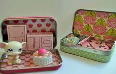 mint tin doll house coll diy project...would be cute with a yarn bug or little doll.  I have seen little pet shop for super cheap at yard sales and thrift stores. This Diy is Perfect for a stocking stuffer.