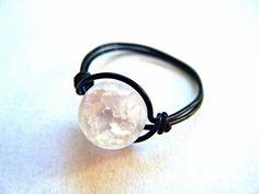 Wire Wrapped Crackled Quartz Ring  Gemstone Ring  by JbellsGems, $8.00