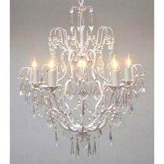 Palais small chandelier rustic white for over the bathtub this beautiful chandelier is trimmed with empress crystaltm 100 crystal wrought iron mozeypictures Image collections