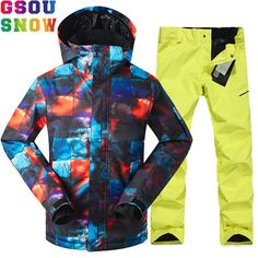 GSOU SNOW Brand Ski Suit Men Winter Outdoor Mountain Skiing Suit  Snowboarding Suits Waterproof Breathable Ski bcfe5f839
