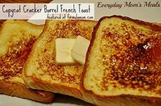 Barrel Copycat French Toast Copycat Cracker Barrel French Toast I know how to make French toast but I really like cracker barrel's.Copycat Cracker Barrel French Toast I know how to make French toast but I really like cracker barrel's. Breakfast Desayunos, Breakfast Items, Breakfast Dishes, Breakfast Recipes, Breakfast Casserole, Breakfast Cookies, Brunch Recipes, Cracker Barrel French Toast, Cracker Barrel Pancakes