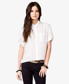 Short Cuff Sleeve Shirt | FOREVER21 - 2026059969