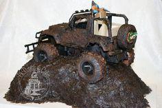 Mudding Grooms Cake | Mudding jeep cake (mud = chocolate ganache...yum!)