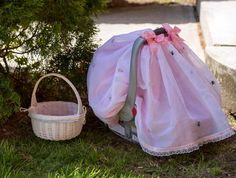 Pink & White Car Seat Canopy / Girl car seat Cover/ by BeingBaby