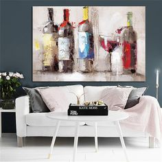 """""""Romantic Red Wine Goblet Dancing Oil Painting Print on Canvas Poster Modern Cuadros Kitchen Decor Wall Picture for Living Room"""" Living Room Canvas Painting, Living Room Paint, Living Room Bedroom, Painting Frames, Painting Prints, Canvas Wall Art, Wall Art Prints, Canvas Prints, Wall Art Designs"""