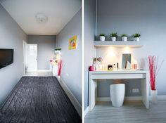 Egy fiatal lány 35m2-es otthona optimális helykihasználással, élénk színekkel feldobott szürke dekorációval - Lakberendezés trendMagazin