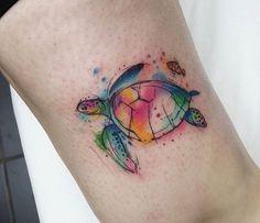 Resultado de imagen para watercolor turtle tattoo