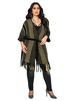 Fashion Bug Women's Plus Size Belted Fringe #Cardigan www.fashionbug.us #PlusSize #FashionBug