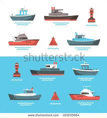 Set of little boats and buoys with blue sea background and isolated on white. Botes y boyas en el mar. Boat Illustration, Graphic Design Illustration, Boat Buoy, Boat Sketch, Boat Vector, Vector Stock, Boat Drawing, Small Sailboats, Boat Painting