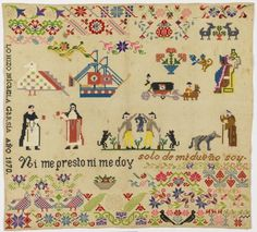 The Obsidian Serpent sampler (1870) is unique in the Smithsonian's collection because it incorporates an image from Mexico's distant past. After gaining independence from Spain, Mexicans sought to define their own cultural identity, and heroes from the country's Aztec and Mayan heritage played a role in the definition. (Smithsonian Cooper-Hewitt, National Design Museum in New York)
