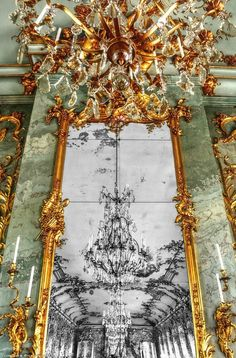 Rococo period wall and mirror, Charlottenburg, Germany, 1746.