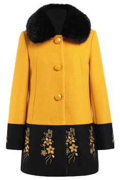 #Retro Floral Fur Collar #Wool #Coat - OASAP.com