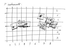 Il movimento dei pannelli per la cena di seduzione: si crea una specie di nicchia, nella quale Giovanna e Gilles possono dichiararsi.