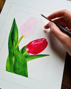 Tulip watercolor illustration by Studio Sonate Tulip Watercolor, Watercolor Illustration, Tulips, Studio, Prints, Instagram, Design, Studios, Tulip