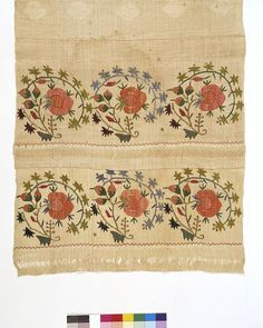 turkish towel, linen and cotton embroidered in silk 1800-1899