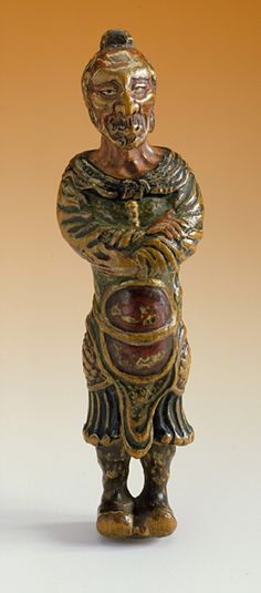 Yoshimura Shuzan (follower of) (Japan, died N/A)   Mongolian Archer, late 18th century  Netsuke, Soft wood with pigments,