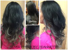 Beautiful, Silver Ombre Color on naturally black hair. Color design by Jeannette.