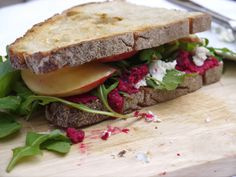 Roasted Beet Hummus, Goat Cheese and Arugula Sandwich