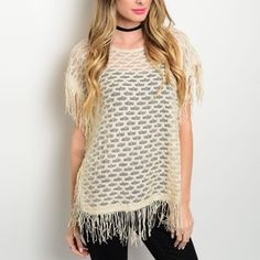 Sheer Fringe Knit Top Sheer Beige Sweater Knit Top. Fringe Trim along Sleeves and Hem. Relaxed fit. 55%Polyester 45%Acrylic   Sizes Available: S,M,L  *Please do not purchase this listing, I will create a new one with you size* Thank you, Xo Boutique Tops