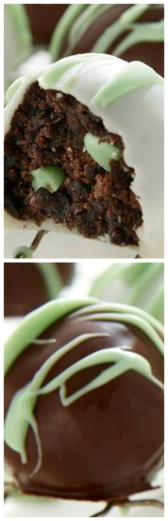 Mint Chip Brownie Bombs ~ Chocolate and mint come together in these easy-to-make brownie truffles... A fun treat for an open house, birthday party or holiday gathering.