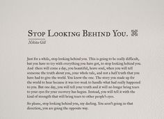 STOP LOOKING BEHIND YOU | NIKITA GILL: