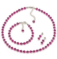 Fuchsia Pink Crystal Jewelry Set for bridesmaids and prom.