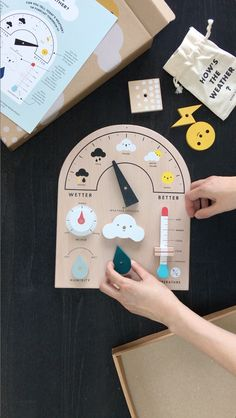 Let's learn about weather! Move the weather meter, turn the dials, slide the thermometer. This fun & educational interactive toy has 4 movable parts and 5 weather symbols to display so little meteorologists can report and forecast the weather montessori Creative Toys For Kids, Diy For Kids, Crafts For Kids, Wooden Toys For Toddlers, Toddler Toys, Wood Kids Toys, Wooden Baby Toys, Diy Montessori Toys, Montessori Bedroom