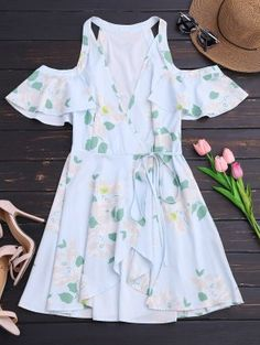Ruffles Cold Shoulder Wrap Mini Dress - Floral