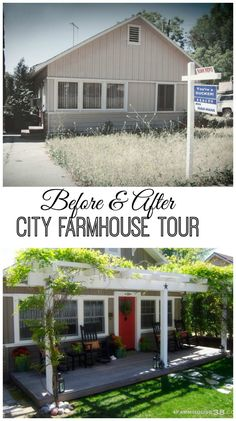 Faux Farmhouse fixer upper in the city house tour Amazing diy's on this old run down foreclosure. Enjoy the inspiration! Up House, House Front, This Old House, Farm House, City Farmhouse, Farmhouse Style, Farmhouse Ideas, Farmhouse Decor, Home Renovation