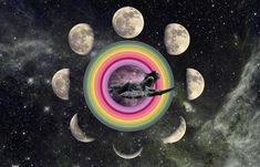 Digital Art - Duck Dive Through Cosmic Portal Moonphase by Lori Menna Cosmos, Moon Astrology, Cosmic Art, Moon Painting, Stuff And Thangs, Flower Quotes, Moon Art, Psychedelic Art, All Art