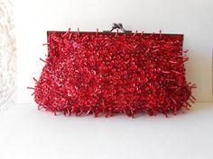 Red Beaded Evening Bag Vintage