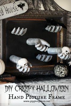 DIY Creepy Halloween Hand Picture Frame   Halloween Party Idea Creepy Halloween Costumes, Spooky Halloween Decorations, Theme Halloween, Halloween Crafts For Kids, Halloween Projects, Halloween Diy, Halloween Wreaths, Halloween 2020, Happy Halloween