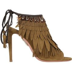 Aquazzura Women 105mm Pocahontas Fringed Suede Boots ($430) ❤ liked on Polyvore featuring shoes, boots, military green, high heel shoes, suede shoes, olive suede boots, open-toe boots and fringe high heel boots
