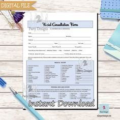 Facial Forms, Esthetician Consent Forms, Client Information Form, Client Intake Form, Skin Care Consultation Forms Blue Instant Download Printable Invitations, Party Printables, Consent Forms, Engagement Celebration, Bag Toppers, Water Bottle Labels, Retirement Parties, Thank You Tags, City State
