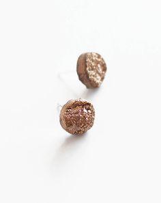 blush druzy earrings