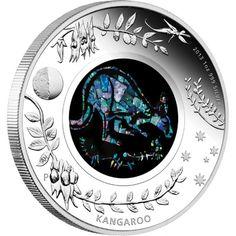 Kangaroo - Australian Opal Series - 2013 One Ounce Silver Proof Coin from the Perth Mint Australian Animals, Australian Opal, Canadian Coins, Coin Auctions, Gold And Silver Coins, Silver Bars, Mint Coins, Mint Gold, Silver Bullion