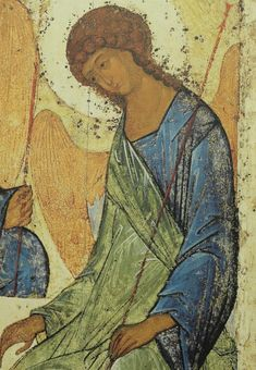 """Andrei Rublev: Image of the """"Holy Trinity"""" Byzantine Art, Byzantine Icons, Russian Icons, Russian Art, Religious Icons, Religious Art, Writing Icon, Andrei Rublev, Fresco"""
