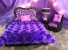 Barbie Furniture / Monster High Furniture - Purple Cheetah Princess Bedroom -  Bed  Accent Chair