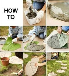 to make leaf stepping stones Great idea! How to make leaf stepping stonesGreat idea! How to make leaf stepping stones Concrete Crafts, Concrete Art, Concrete Garden, Garden Steps, Garden Paths, Garden Crafts, Garden Projects, Diy Garden, Leaf Stepping Stones