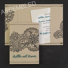 The thread that ties your whole wedding look together? Your unique style. Show it off with these lace-design, white wedding invitations stitched into a pocket. Couture Wedding Invitations, Wedding Invitation Trends, Discount Wedding Invitations, Anniversary Invitations, Bridal Shower Invitations, Wedding Stationery, Wedding 2015, Wedding Ideas, Lace Weddings