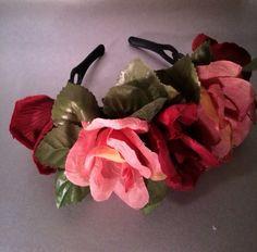 Rose, large flower, flower crown, flower halo, flower headband, flower tiara, flower girl, sugar skull, frida, bridal flower crown  by enchantedheadwear on Etsy https://www.etsy.com/listing/228604678/rose-large-flower-flower-crown-flower