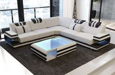 Modern Sectional Fabric Sofa San Antonio L Shape with LED – Sofa Design 2020 Sofa Set Designs, L Shaped Sofa Designs, Modern Sofa Designs, Corner Sofa Design, Living Room Sofa Design, Bed Design, Couch U Form, Designer Couch, Luxury Sofa