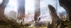 Halo 4 - Forerunner structures, sparth - nicolas bouvier on ArtStation at http://www.artstation.com/artwork/halo-4-forerunner-structures