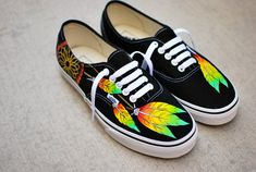 Rasta Dream Catcher Vans Custom Hand Painted by BStreetShoes