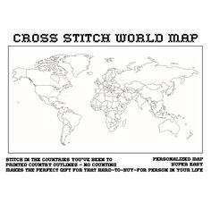cross Stitch Weltkarte  Mercator-Projektion von thepostdocshop