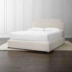 Crate & Barrel Curve Upholstered California King Bed (30,635 MXN) ❤ liked on Polyvore featuring home, furniture, beds, upholstered furniture, crate and barrel, california king bed furniture, california king upholstered bed and upholstery bed