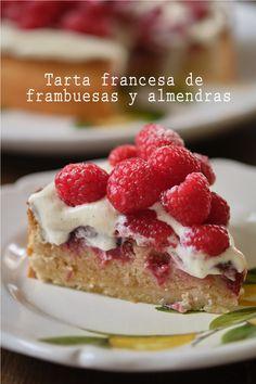 Tarta francesa de frambuesas y almendras (+ vídeo HD) – Tarthélémy Raspberry Bread, Version Francaise, Parfait, Cheesecake, Desserts, Food, Cape Clothing, Raspberry Cake, Roasted Almonds